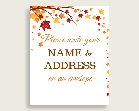 Addressing Sign Bridal Shower Addressing Sign Fall Bridal Shower Addressing Sign Bridal Shower Autumn Addressing Sign Brown Yellow YCZ2S