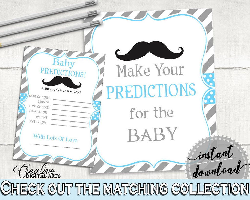 Baby Predictions, Baby Shower Baby Predictions, Mustache Baby Shower Baby Predictions, Baby Shower Mustache Baby Predictions Blue Gray 9P2QW - Digital Product