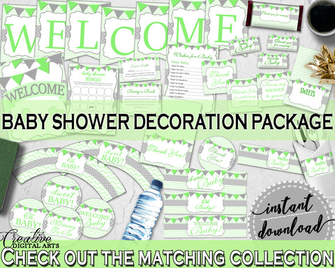 Green Baby Boy or Girl Shower Decoration package bundle printable with chevron green theme, Jpg Pdf - Instant Download - cgr01