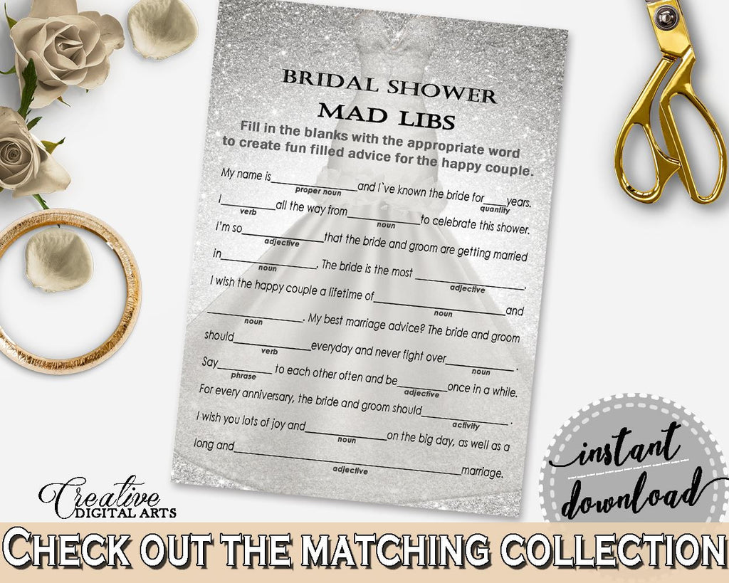 silver wedding dress bridal shower mad libs game in silver and white adjective pretty