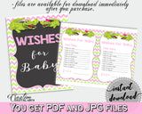 WISHES FOR BABY activity advice for baby shower with green alligator and pink color theme, instant download - ap001