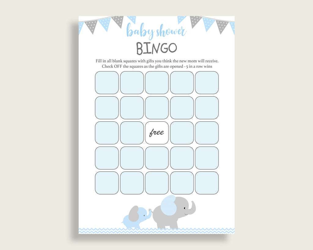 Blue Grey Baby Shower Bingo Blank Game Printable, Elephant Baby Shower Boy Bingo Blank Cards, Bingo Gift Opening Game, Mammoth Trunk ebl02