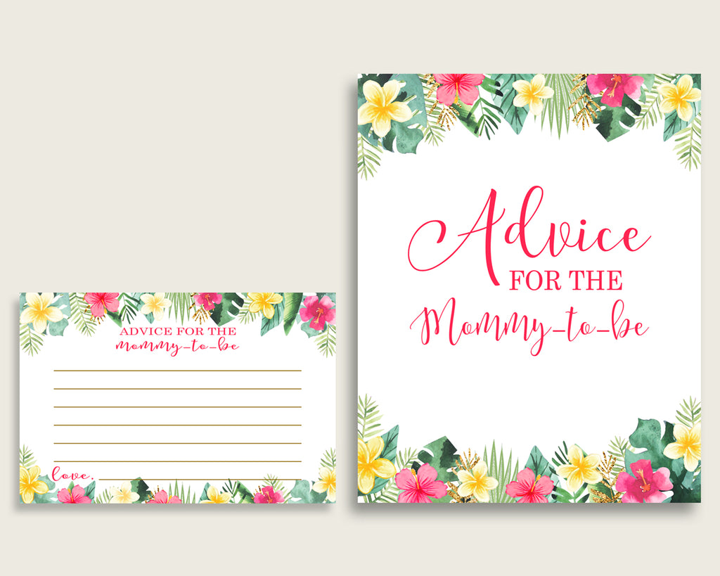 Hawaiian Advice For Mommy To Be Cards & Sign, Printable Baby Shower Pink Green Advice For New Parents, Instant Download, Luau Aloha 955MG