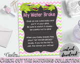 MY WATER BROKE baby shower game with green alligator and pink color theme, instant download - ap001
