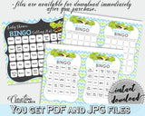 Baby Shower BINGO 60 cards game and empty gift BINGO cards with green alligator and blue color theme, instant download - ap002