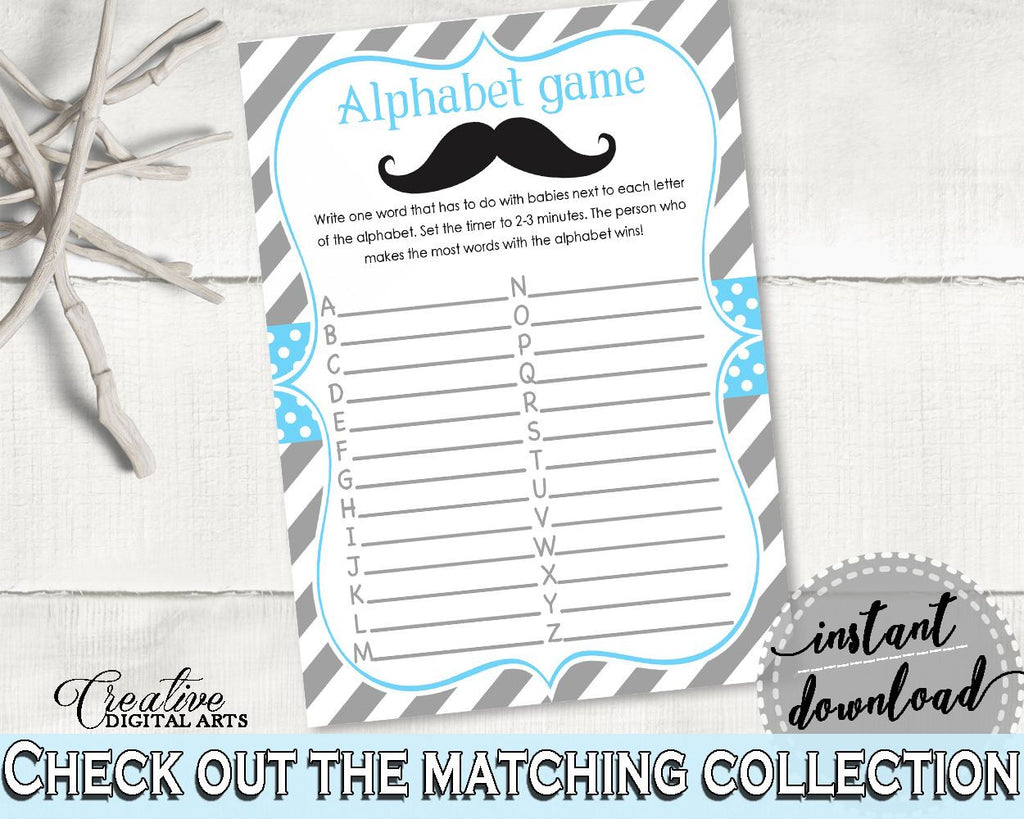 Blue And Gray Alphabet Game Baby Shower Alphabet Game Mustache