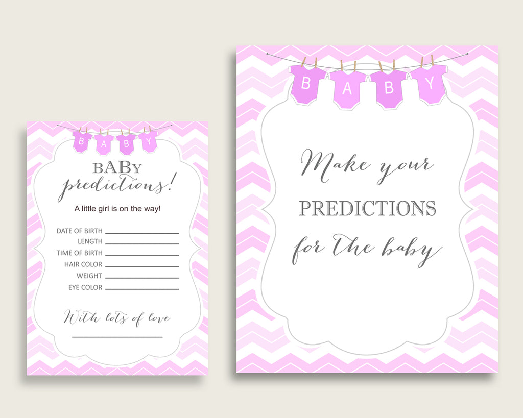 Chevron Baby Shower Prediction Cards & Sign Printable, Pink White Baby Prediction Game Girl, Instant Download, Light Pink Popular Zig cp001