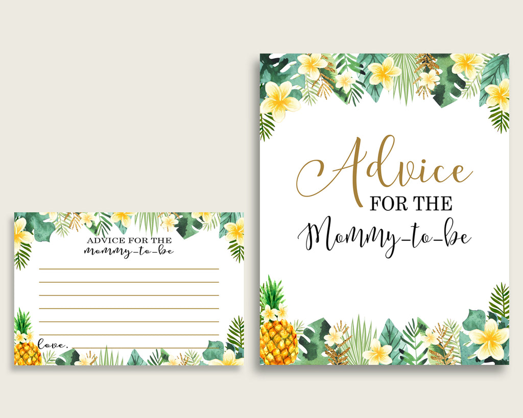 Tropical Advice For Mommy To Be Cards & Sign, Printable Baby Shower Green Yellow Advice For New Parents, Instant Download, Popular 4N0VK