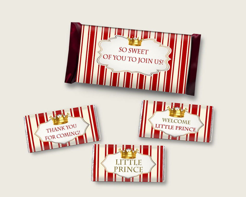 Prince Hershey Candy Bar Wrapper Printable, Red Gold Chocolate Bar Wrappers, Boy Shower Candy Labels, Instant Download, Most Popular 92EDX