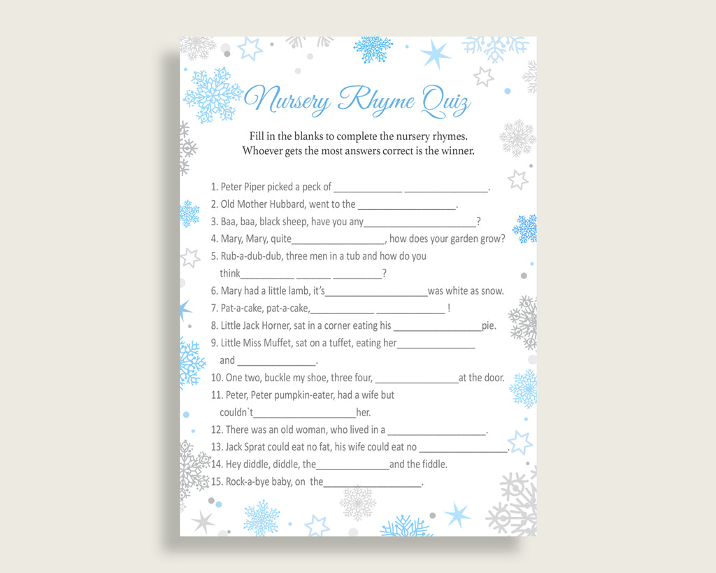 Nursery Rhyme Quiz Baby Shower Nursery Rhyme Quiz Snowflake Baby Shower Nursery Rhyme Quiz Blue Gray Baby Shower Snowflake Nursery NL77H