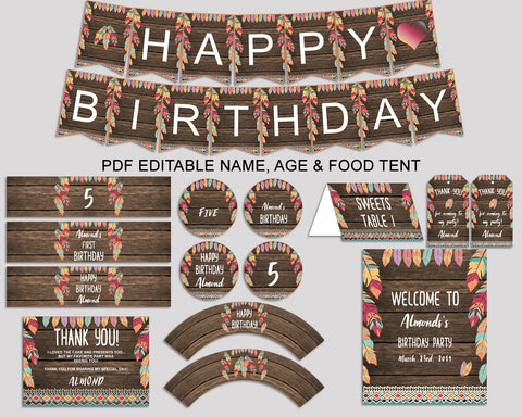 Wild One Birthday Party Package, Feathers Decorations Set Editable Brown Green, Birthday Kit Printable for Boy Girl, LQES5