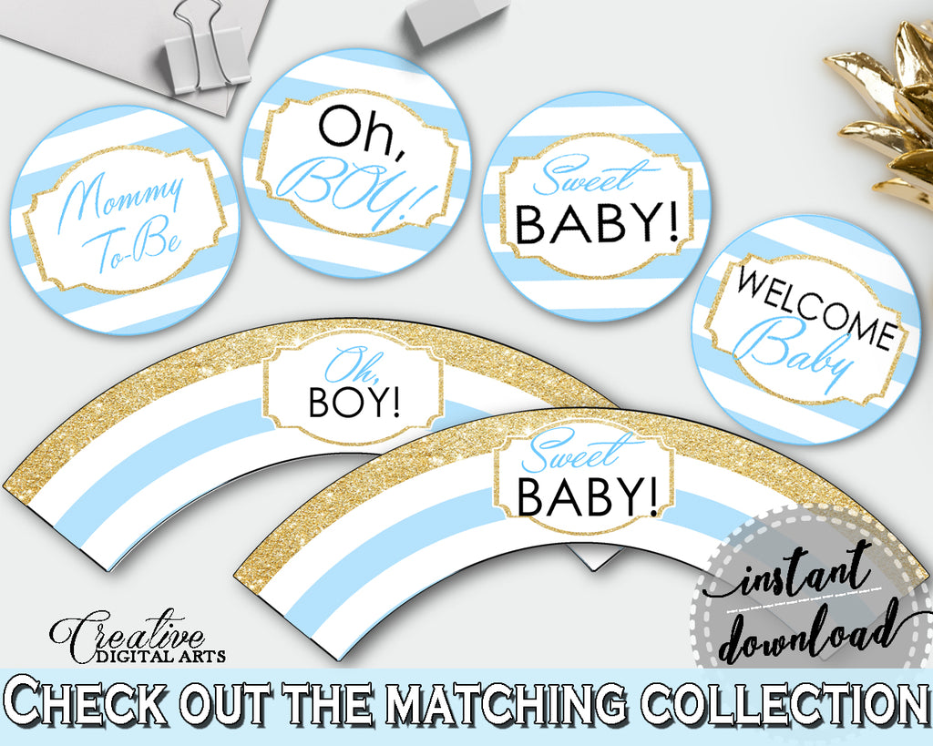 Baby shower printable CUPCAKE TOPPERS and cupcake WRAPPERS with blue and white stripes for boys or girls, instant download - bs002