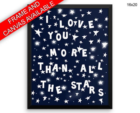 Blue Stars Print, Beautiful Wall Art with Frame and Canvas options available Nursery Decor