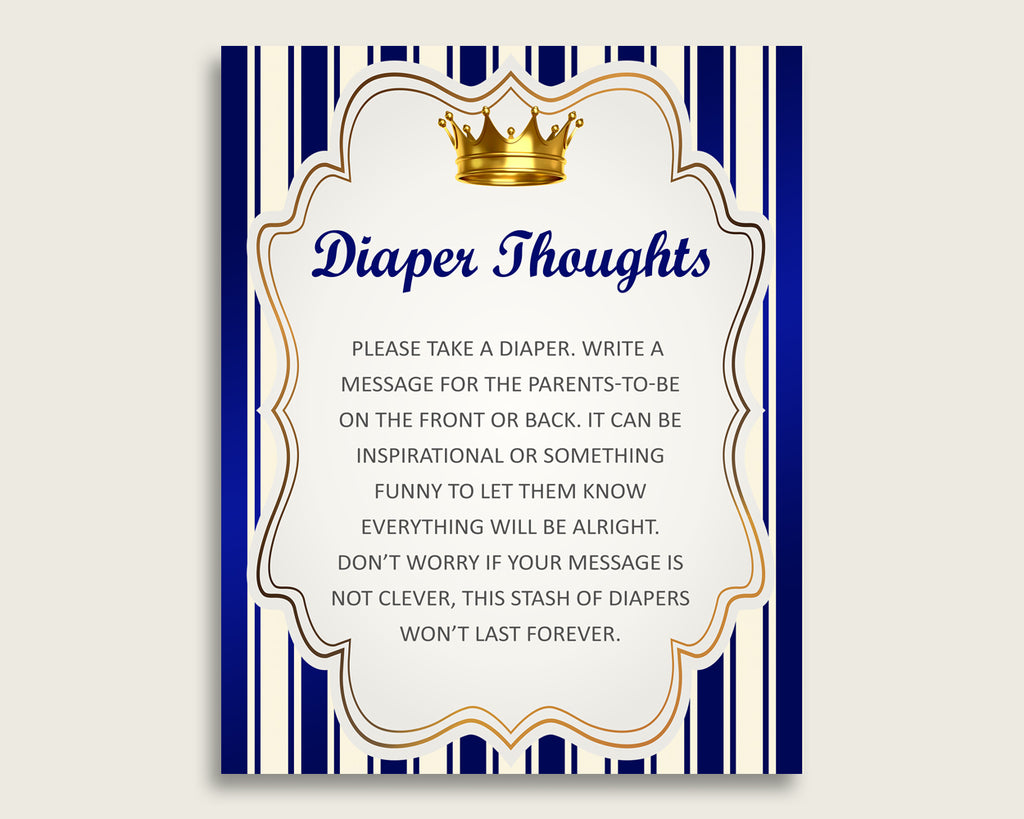 Royal Prince Baby Shower Diaper Thoughts Printable, Boy Blue Gold Late Night Diaper Sign, Words For Wee Hours, Write On Diaper Message rp001