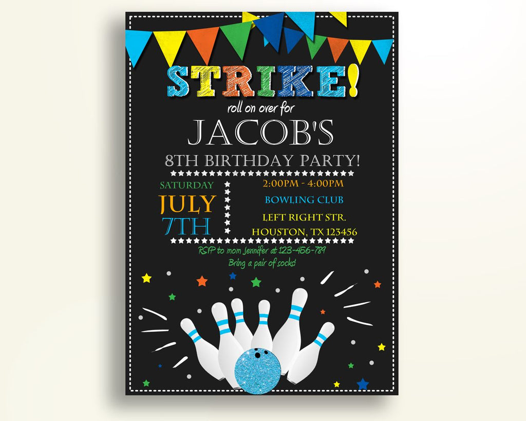 Bowling Party Birthday Invitation Bowling Party Birthday Party Invitation Bowling Party Birthday Party Bowling Party Invitation Boy 2QJSM - Digital Product