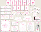 Pink Gold Baby Shower Decorations Girl Kit, Twinkle Star Baby Shower Party Package Printable, Instant Download, Cute Stars bsg01