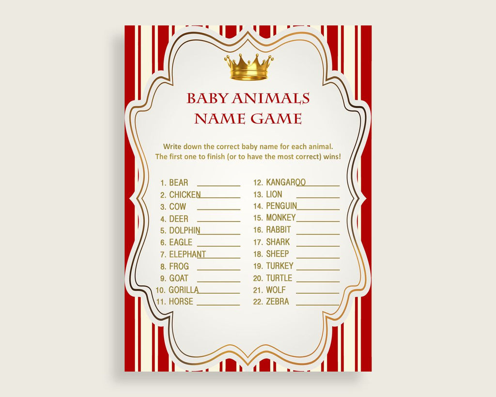 Prince Name The Baby Animals Game Printable, Red Gold Baby Shower Animal Game, Boy Baby Shower, Instant Download, Most Popular Crown, 92EDX