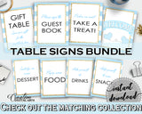 Baby shower TABLE SIGNS decoration printable with blue stripes, gold glitter, digital jpg pdf, instant download - bs002