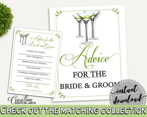 Advice Bridal Shower Advice Modern Martini Bridal Shower Advice Bridal Shower Modern Martini Advice Green White party plan, prints ARTAN - Digital Product
