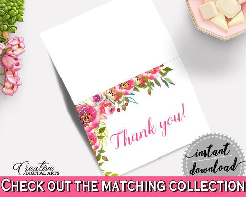 Thank You Card Bridal Shower Thank You Card Spring Flowers Bridal Shower Thank You Card Bridal Shower Spring Flowers Thank You Card UY5IG - Digital Product