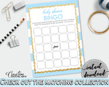 Baby Shower printable BINGO GIFT game card printable with blue stripes and glitter gold title, Jpg Pdf, instant download - bs002
