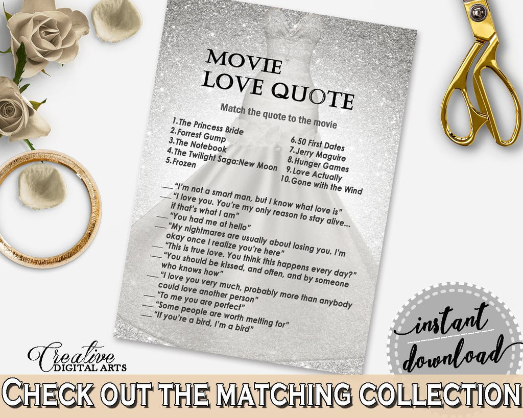 Famous Movie Love Quotes Silver Wedding Dress Bridal Shower Movie Love Quote Game In Silver