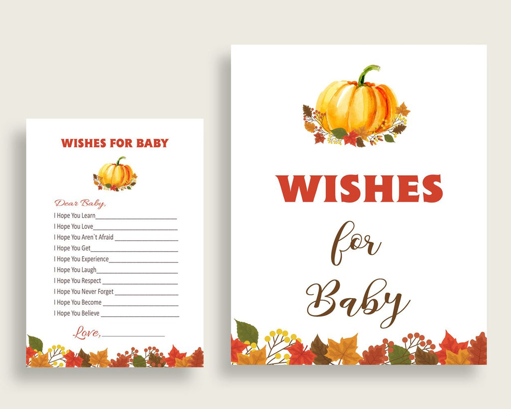 Wishes For Baby Baby Shower Wishes For Baby Fall Baby Shower Wishes For Baby Baby Shower Pumpkin Wishes For Baby Orange Brown prints BPK3D - Digital Product