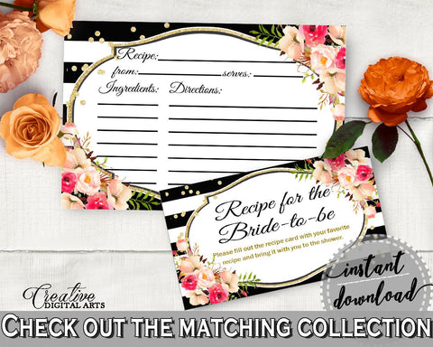 Flower Bouquet Black Stripes Bridal Shower Recipe For The Bride To Be in Black And Gold, print recipe card, party organizing - QMK20 - Digital Product