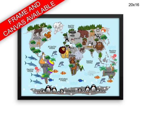 Animals World Map Print, Beautiful Wall Art with Frame and Canvas options available Nursery Decor