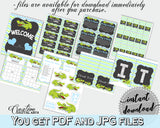 Blue and Green Baby Shower Decoration package bundle printable with Green Aligator Crocodile for boy - Instant Download - ap002