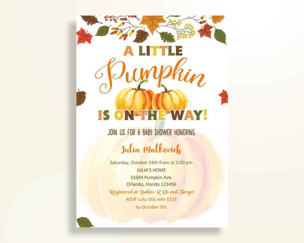 Invitation Baby Shower Invitation Autumn Baby Shower Invitation Baby Shower Pumpkin Invitation Orange Brown instant download prints OALDE - Digital Product
