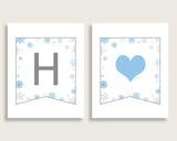 Banner Baby Shower Banner Snowflake Baby Shower Banner Blue Gray Baby Shower Snowflake Banner digital download prints pdf jpg NL77H