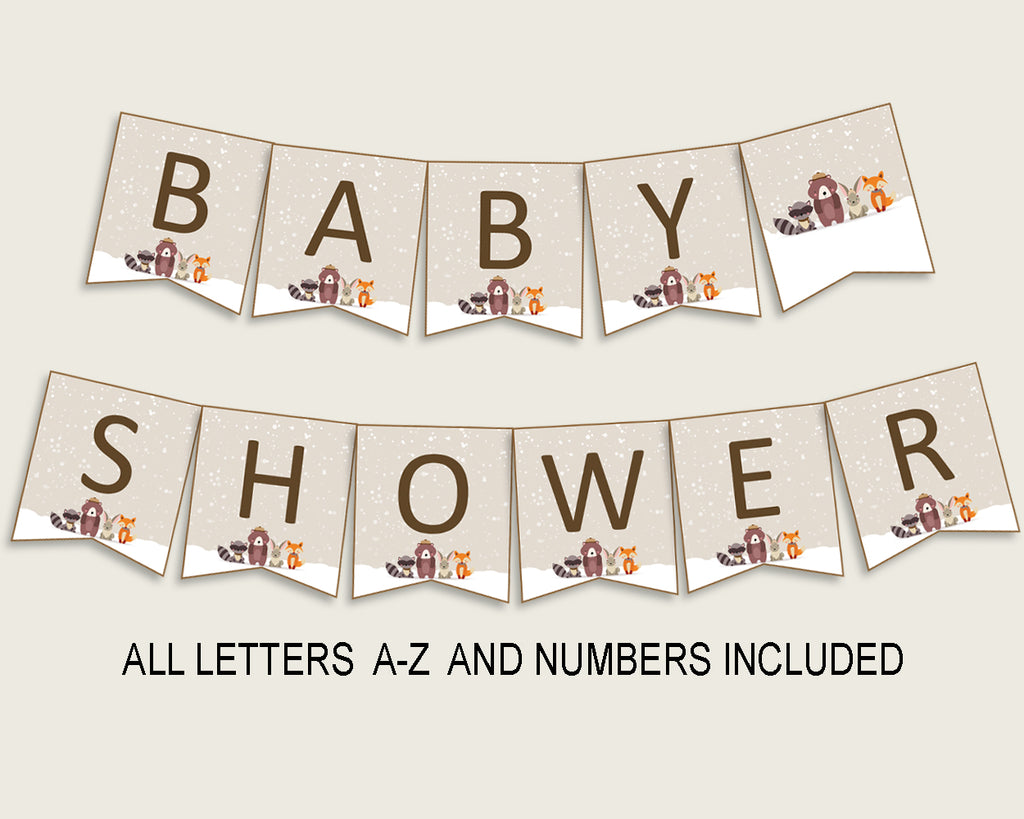 Winter Woodland Baby Shower Banner All Letters, Birthday Party Banner Printable A-Z, Beige Brown Banner Decoration Letters Gender RM4SN