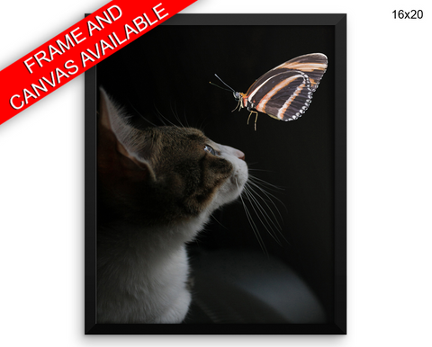Cat Butterfly Print, Beautiful Wall Art with Frame and Canvas options available Living Room Decor