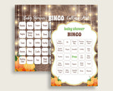 Bingo Baby Shower Bingo Autumn Baby Shower Bingo Baby Shower Autumn Bingo Brown Orange printable files party theme party planning 0QDR3 - Digital Product