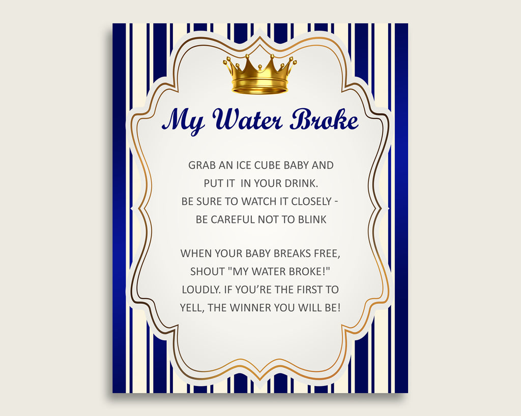 Royal Prince Baby Shower My Water Broke Game Printable, Blue Gold Ice Cube Babies Game, Boy Baby Shower Frozen Babies Game Sign 8x10 rp001