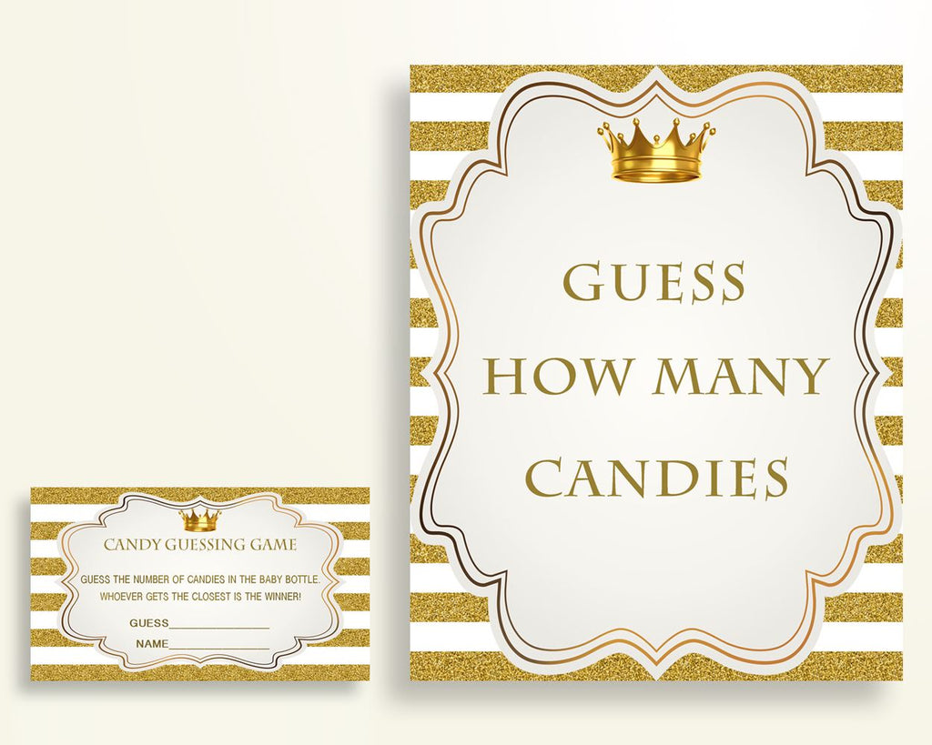 Candy Guessing Baby Shower Candy Guessing Royal Baby Shower Candy Guessing Gold White Baby Shower Gold Candy Guessing party décor Y9MQF - Digital Product