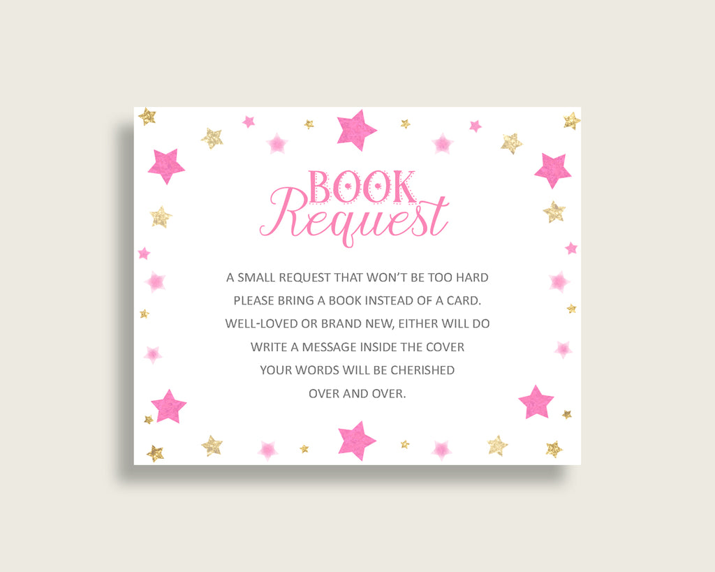 Twinkle Star Baby Shower Bring A Book Insert Printable, Girl Pink Gold Book Request, Twinkle Star Books For Baby, Book Instead Of bsg01