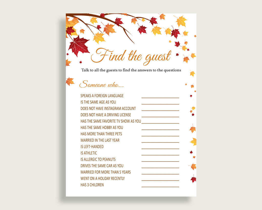 Find The Guest Bridal Shower Find The Guest Fall Bridal Shower Find The Guest Bridal Shower Autumn Find The Guest Brown Yellow party YCZ2S