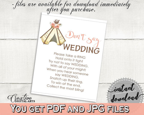 dont say wedding game bridal shower dont say wedding game tribal bridal