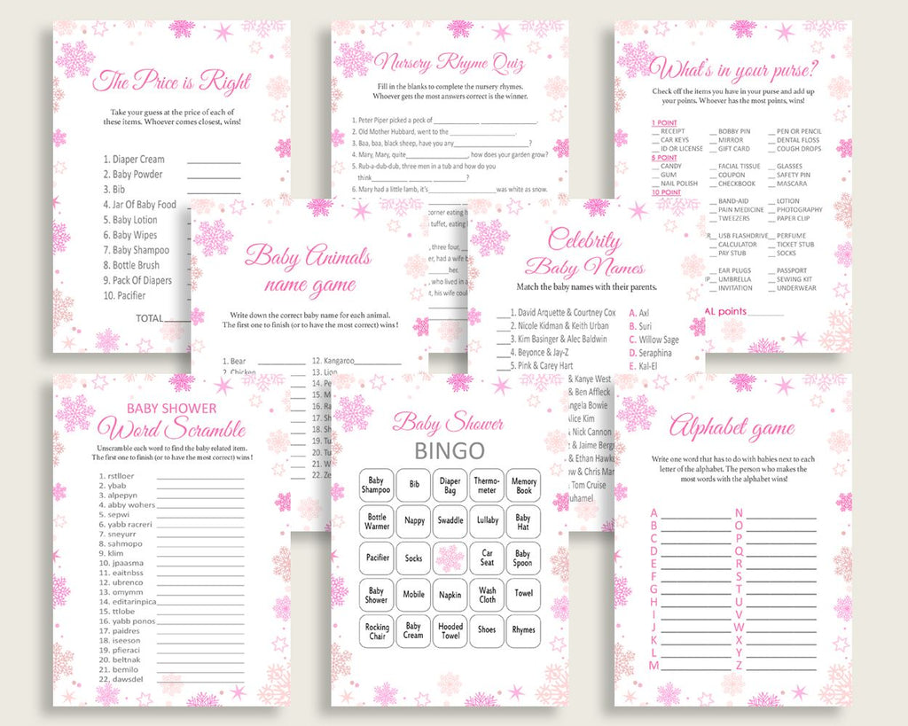 Games Baby Shower Games Winter Baby Shower Games Baby Shower Girl Games Pink White shower celebration baby shower idea party stuff 74RVX - Digital Product