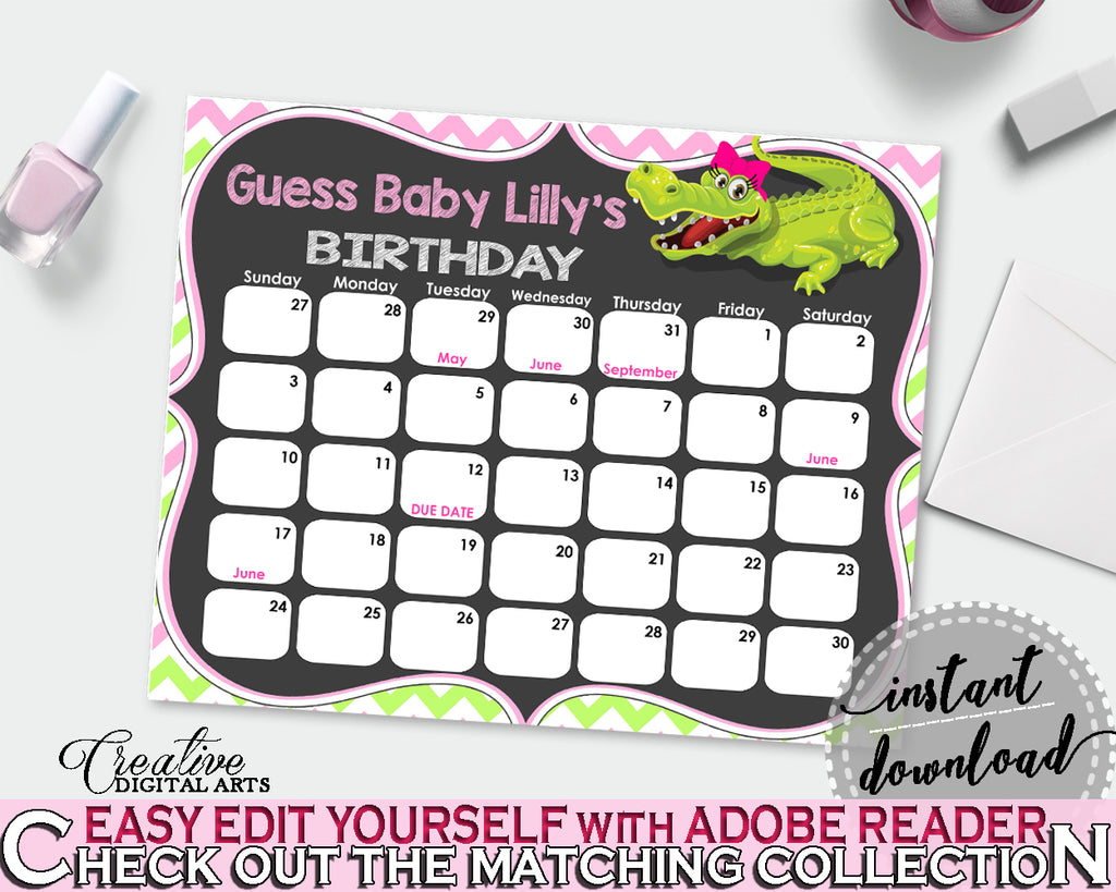 Baby Shower BIRTHDAY PREDICTION due date calendar editable with green alligator and pink color theme, instant download - ap001