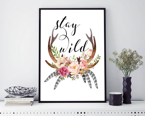 Wall Art Stay Wild Digital Print Stay Wild Poster Art Stay Wild Wall Art Print Stay Wild  Wall Decor Stay Wild colorful art stay wild - Digital Download