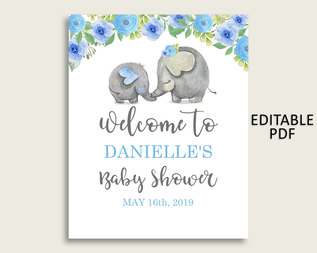 Blue Gray Elephant Blue Baby Shower Welcome Sign Printable, Party Large Sign, Editable Welcome Sign Boy, Yard Sign, Instant Download, ebl01