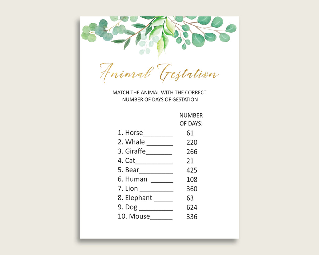 Greenery Animal Pregnancy Gestation Game, Green Gold Baby Shower Gender Neutral Printable Activities, Instant Download, Most Popular Y8X33