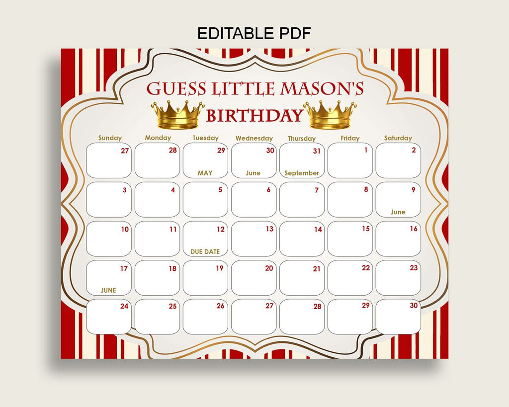 Red Gold Guess Baby Due Date Calendar Game Printable, Prince Baby Shower Boy Birthday Prediction Calendar Editable, Instant Download 92EDX