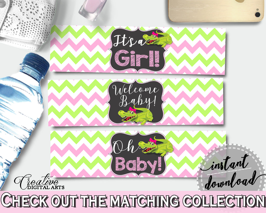 Baby shower WATER BOTTLE LABELS printable with green alligator and pink color theme, instant download - ap001