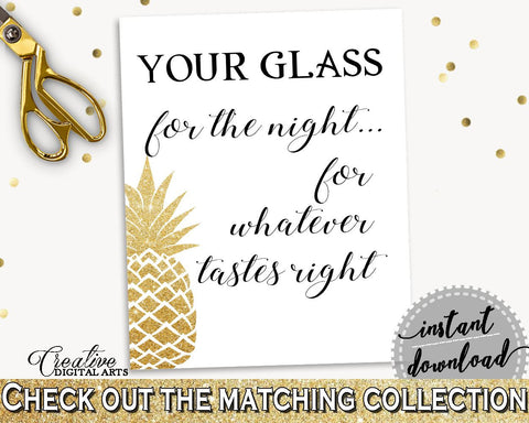 Your Glass For The Night Sign Bridal Shower Your Glass For The Night Sign Pineapple Bridal Shower Your Glass For The Night Sign Bridal 86GZU - Digital Product