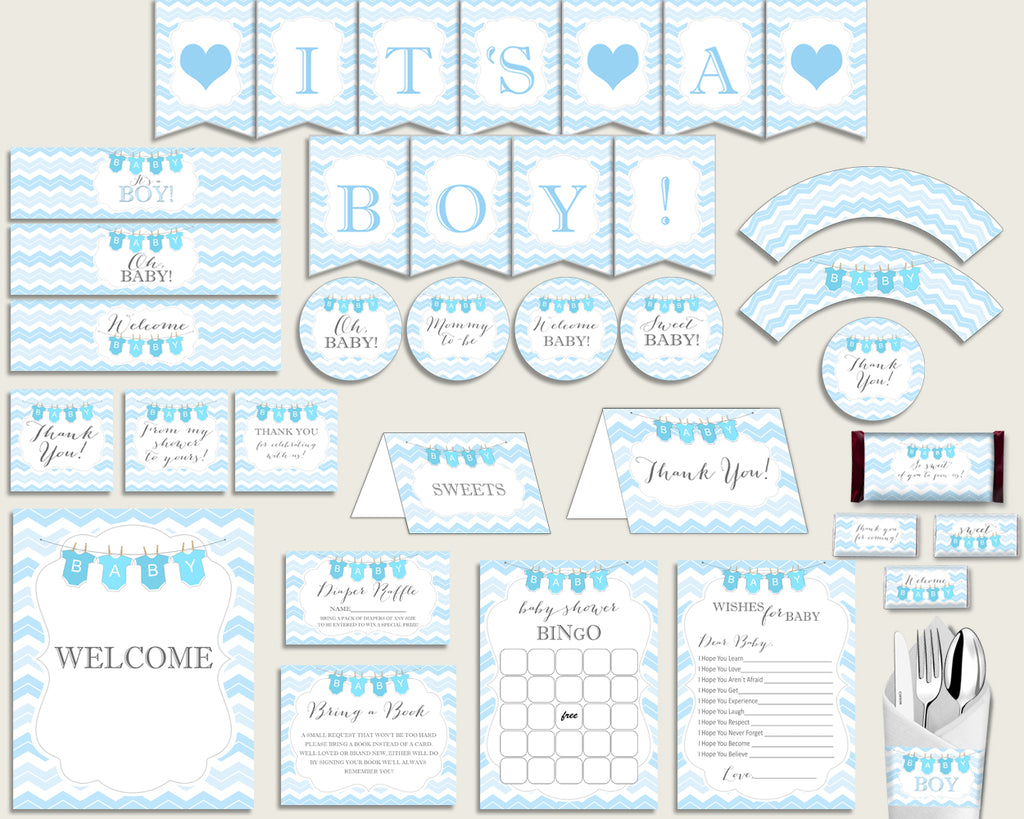 Blue White Baby Shower Decorations Boy Kit, Chevron Baby Shower Party Package Printable, Instant Download, Light Blue Popular cbl01