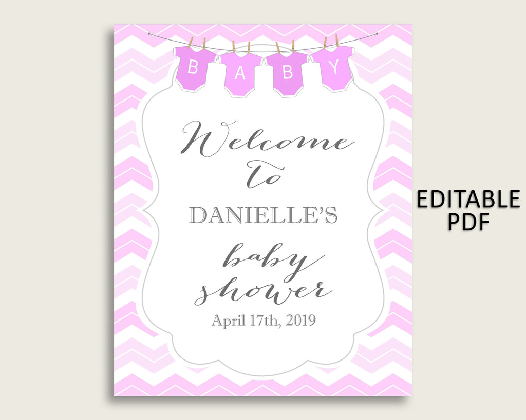 Pink White Chevron Baby Shower Welcome Sign Printable, Party Large Sign, Editable Welcome Sign Girl, Yard Sign, Instant Download, cp001